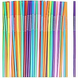 Sumaju - Pajitas flexibles para bebidas, 100 unidades, extra largas, multicolor, a rayas, desechables, para cóctel, fiesta, bar, pajita para beber