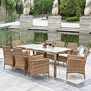 ikayaa 9pcs salon de jardin en r sine rotin ext rieur patio table manger mis ensemble de. Black Bedroom Furniture Sets. Home Design Ideas