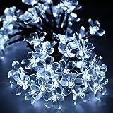 LUCKYKS Solar Lichterkette 6M 50 LED mit Sensor Außen IP44 Dekorativ Beleuchtung für Neujahr, Hochzeit, Party, Fest im Zimmer, Garten, Baum, Terrasse (50 LED-Blume, weiß)