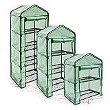 Relaxdays Foliengewächshaus Balkon 2 - 4 Regale, platzsparendes Anzuchthaus f. Terrasse, wetterfeste Gitterplane, grün