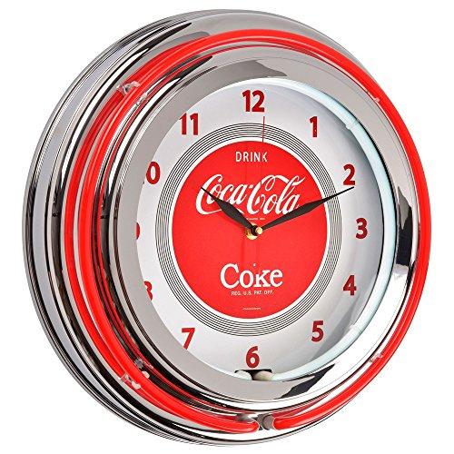 Wanduhr rund Lichterkette Neon Coca Cola Rot und Grau Chrom Metall und Glas The Coca Cola Coke Company 36–1C-005 (Neon Uhr)