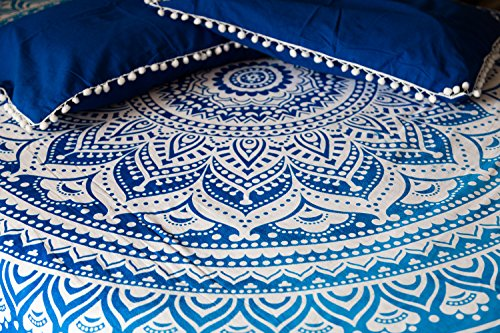 Folkulture Majestic Blue Ombre Bedspread with Pillow Covers, Indian Bohemian Tapestry Wall Hanging, Picnic Blanket or Hippie Beach Throw, Hippy Mandala Bedding for Bedroom, Queen Size Boho Spread