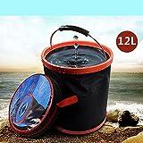 Wuudi Falteimer Oxford Tuch Premium Wasser Container Tragbarer Klapp Wasser 12L Eimer für Angeln/Camping/Outdoor Sports/Auto Waschen/Home Verwenden (Leicht und Einfach zu transportieren)
