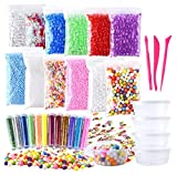 #2: Fepito Slime Making Craft Kits Fruit Slime Crunchy Slime Foam Beads Accessories Including Fishbowl Beads Glitter Fruit Slices Micro Foam Balls for Slime DIY, 35 Piece