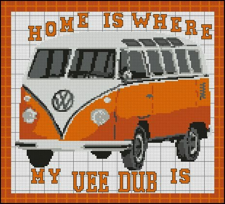Volkswagen-VW-Camper-Orange-Home-Sampler-Cross-Stitch-Kit
