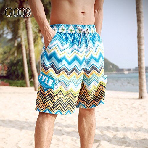 HOOM-Nouveau pantalon de plage d'été occasionnels Shorts hommes Camo coton taille lâche cinq pantalons shorts Blue f