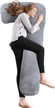 QUEEN ROSE 7-Förmiges Seitenschläferkissen, Lagerungskissen & Körperkissen mit Abnehmbarem und Waschbarem Bezug
