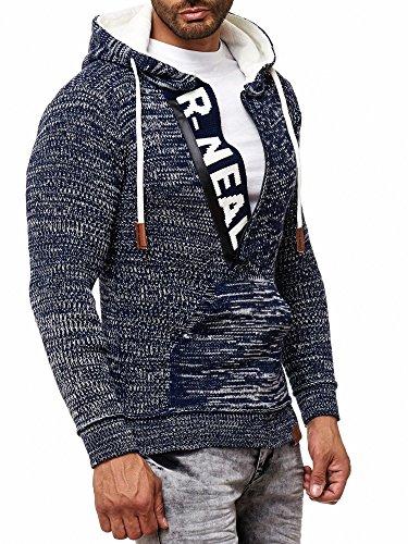 RUSTY NEAL Herren Strick-Pullover Strickjacke mit Kapuze Gr. S bis 4XL RN-13277, Farbe:Blau / Ecru;Größe:4XL