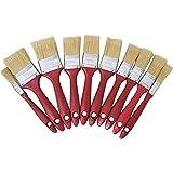 Set de brochas de pintura.10 brochas planas de pintura para pared, madera i hierro. Con cerdas mixtas i mango ergonómico. Dif