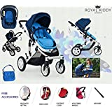 Royal Kiddy London © The Royal Voyager Foldable Baby Pram Pushchair Stroller 3 in 1 - Car Seat, Carry Cot, Diapers Bag, Footrest Cover, Rain Cover, and Air Pump. FREE 1 Year Support & Services