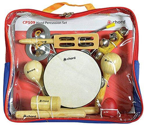 avl28-Chord mano-Strumenti set (9) Starter Kit Tamburello, maracas Shakers in nylon trasparente con zip borsa triangolo, Jingle, ideale per aule di musica