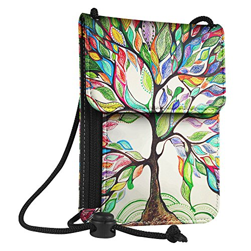 Fintie Funda para Pasaporte [Bloqueo RFID] Billetera Cartera del Viaje de Superior Cuero PU Bolsa del Cuello, Love Tree