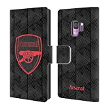Head Case Designs Offizielle Arsenal FC Schwarz 2018/19 Crest Und Gunners Logo Brieftasche Handyhülle aus Leder für Samsung Galaxy S9