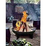 Feuer-Schale schwarz Stahl 50cm Feuer-Korb Pflanz-Schale Terrassen-Ofen Grill BBQ Edel-Stahl Garten-Kamin