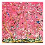 AHUIOPL 130Cm * 130 cm Seide Frauen Große Schals Stolen Lebensbaum Drucken Quadrat Schals & Wraps Echarpes Foulards Femme s, Ein Blumenbaum Rot