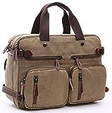 Minetom Vintage Trasformabile Backpack Tela Borsa Messenger Zaino Da Convertible Laptop Borsa Zaini Da Viaggio Zaino Trekking Cachi Taglia Unica