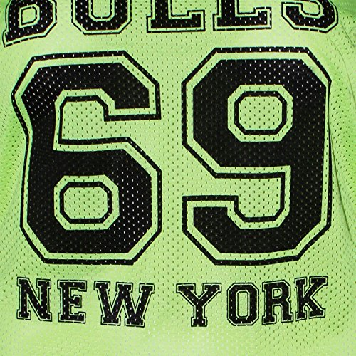 Neuer Frauen-Baseball-Drucken-Streifen-Air Tech Varsity sackartige Oberteile 36-54 69 Bulls Neon Yellow