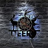 QUTICL1 Stück Deer Hunter Wanduhr Hirschgeweih Vinyl Uhr Hirschkopf Wandkunst Vintage Design Beleuchtete Wanduhr