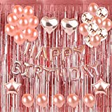 Weimi Geburtstag Mädchen Roségold für Mädchen Folie Happy Birthday Banner Metallic Lametta Vorhänge Sterne Herz Folie Ballon Konfetti Latex Ballons für Frauen Frauen Party Supplies