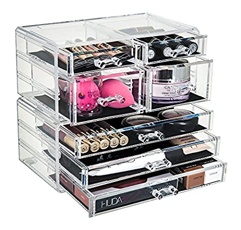 GLAMSMACKED ® Professional Clear Acrylic 7 Drawer Cosmetic Organiser –