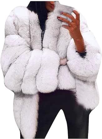Cappotto Donna Pelliccia Sintetica Visone Parka Cappotto Cammello Invernale Piumino Moda Spesso Manica Lunga Cappotto in Peluche