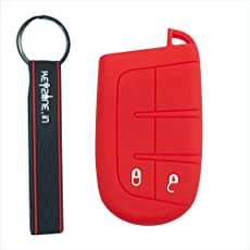 KEYZONE Silicone Key Cover and Keyring Combo Fit for Jeep Compass Smart Key (Red, 1)