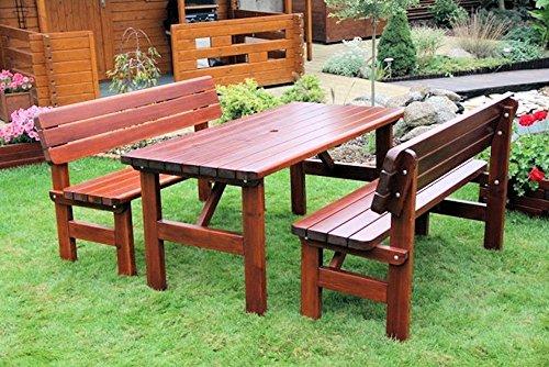 Massivholz Garten Sitzgruppe 'Rovna-1' , Kiefer , unlackiert , Holzdicke : 42 mm ! Set : 2 Gartenbänken , Massivholztisch .