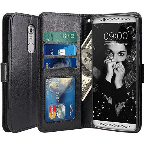 ZTE Axon 7 Mini Hülle, LK Luxus PU Leder Brieftasche Flip Case Cover Schütz Hülle Abdeckung Ledertasche für ZTE Axon 7 Mini (Schwarz)