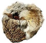 Cucuba® RUSSISCHE FELLMÜTZE GRAU/BRAUN KANINCHENFELL WOLLE, SCHAPKA USCHANKA FARBE GRAU / BRAUN - GESCHENKIDEE (58/59 (SIZE L))