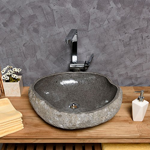 Preisvergleich Produktbild WOHNFREUDEN Naturstein Waschbecken 50 cm  aussen natur innen poliert  Steinwaschbecken Waschschale Findling Granit Flusskiesel Waschplatz versandkostenfrei