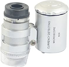Smallest 60X Microscope 2 LED Light Eye Lens Mini Magnifier Loupe with UV Light