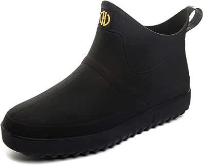 GURGER Men's Wellington Boots Short Ankle Wellies Waterproof Chelsea PVC Rubber Rain Boots