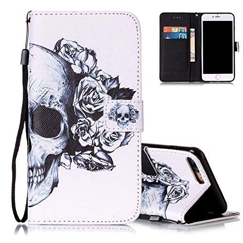 iPhone 7 plus Flip Ledertasche, Muster Book Case Cover für iPhone 7 PLUS, Aeeque® Slim [Standfunktion Kartenfach] Malerei Pink Lotus Bilder Leder Handy Tasche Klappetui Lederhülle Brieftasche Schädel mit Blume
