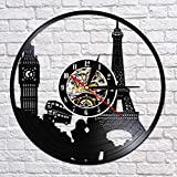JJYM Orologio da Parete Parigi Londra Viaggio a Tema Disco in Vinile Orologio da Parete Torre Torre Viaggio Unico Punto di Riferimento Orologio da Parete Orologio da Orologio retrò