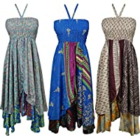 Womens Hi Low Halter Dress Kora 2 Layer Upcycled Silk Sari Cruise Dress S Lot Of 3 Set