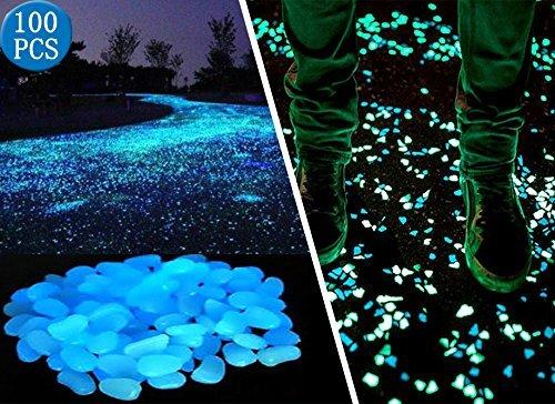 surenhap - lotto di 100 ciottoli fosforescenti per giardino, pietre decorative per sentiero, prato, cortile, walkway blu