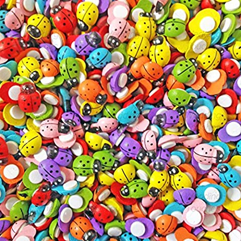 250pcs Multicolor Mini 9 x 12 mm autoadhesivo de madera mariquita Mariquitas Craft tarjeta Madera Decoraciones