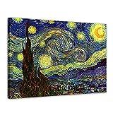 Bilderdepot24 Leinwandbild - Vincent Van Gogh - Sternennacht - 80x60cm Einteilig - Alte Meister - Bilder als Leinwanddruck - Kunstdruck - Leinwandbilder - Bild auf Leinwand - Wandbild