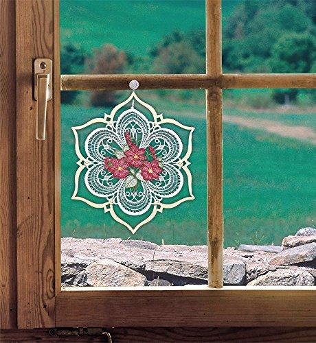 Fensterbild Blüten im Holzrahmen brombeer 19 x 20 cm (BxH) echte Plauener Spitze mit erzgebirgischer Holzkunst inkl. Saughaken