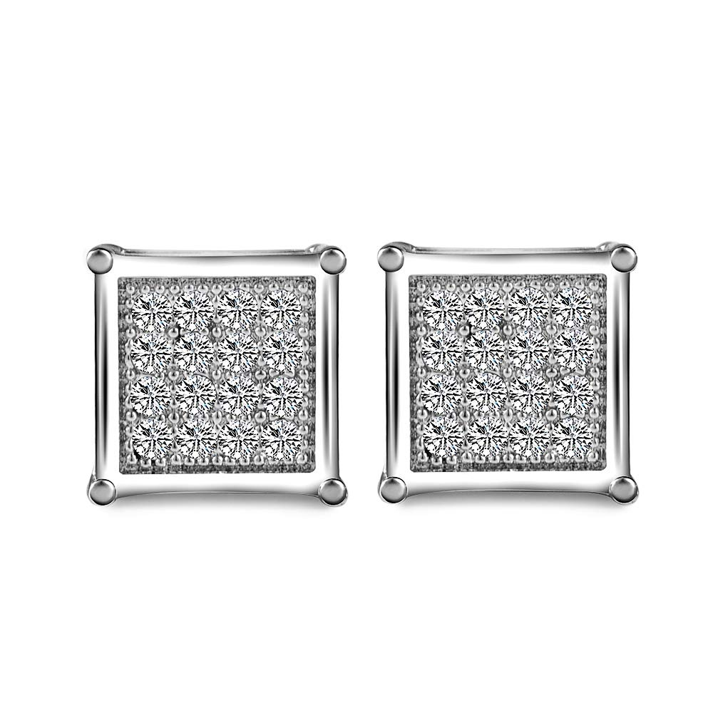 Square Studs Earrings for Men Women-1 Pair 7MM Black/Silver/Gold Surgical Steel Post 18K Gold Diamond Cubic Zirconia Earrings-CheersLife Fashion Jewellery Birthday Gift