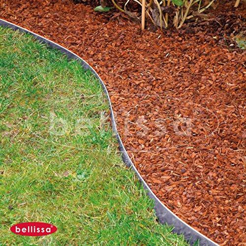 Bellissa Rasenkante Metall | aus verzinktem biegbarem Metallblech | 50 Stück | Maße: 118 x 13 cm