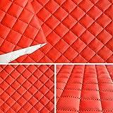 Kunstleder PVC gesteppt kaschiert 5x5cm Farbe: Rot T191 03