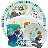 مجموعة أدوات طعام ديزني فروزن للأطفال من زاك ديزاينز تشتمل على طبق ووعاء وكوب وأدوات مائدة أدوات مائدة غير -BPA مصنوعة من موا