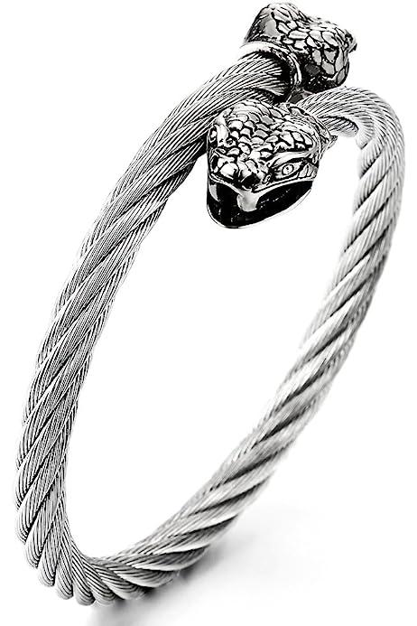 Hommes COOLSTEELANDBEYOND Acier Inoxydable C/ôt/é Horizontal Lat/éral Croix ID Identification Noir Tress/é Cuir Bracelet Bracelet Manchette