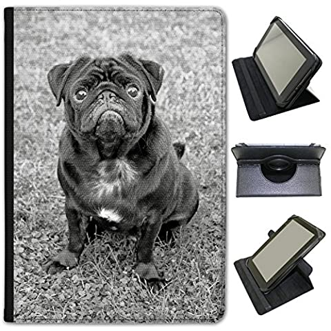 Black Pug Sat On Grass In Park Universal Faux Leather Case Cover / Folio for the Acer Iconia Tab 10