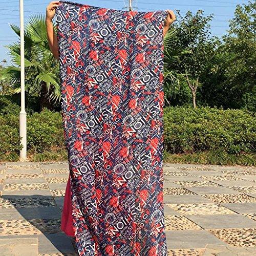 Transer ® Femelle Écharpes, Mode féminine Montre Imprimé coton et lin Sarong Wrap Châle style Écharpes Marine