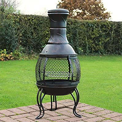 Kingfisher CHIM1A Outdoor Chiminea BBQ Heater Black Powder Coated Steel from Bonningtons