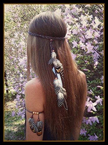 Diadema cinta de pelo hippie con plumas y abalorios de madera para peinados sueltos o recogidos resultados ideales novedad 2018 de OPEN BUY