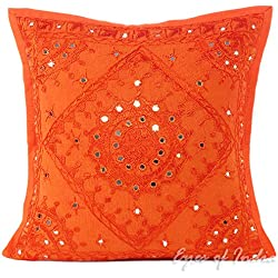 "EYES OF INDIA - 16"" NARANJA BORDADO DECORATIVO dunda cojín sofá Boho Decoración Bohemia"