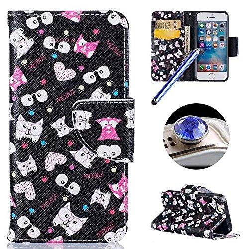 Etsue [9 Kartenfächer] Brieftasche Hülle für iPhone 6 Plus/6S Plus(5.5 Zoll) Blumen Lederhülle Ledertasche Handyhülle[Lanyard], Mädchen Muster Prägung Flip Wallet Leder Schutzhülle Retro Handy Tasche  niedlich Katze